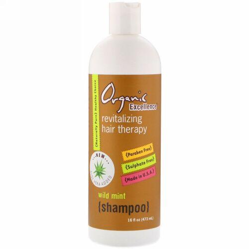 Organic Excellence, シャンプー, リバイタライジング ヘア セラピー, ワイルドミント, 16 fl oz (473 ml)
