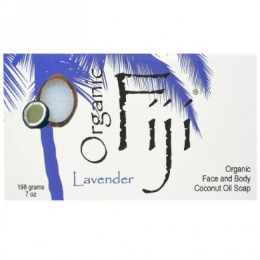 Organic Fiji, オーガニック フェイスアンドボディー ココナツオイルソープ、ラベンダー、7 oz (198 g) (Discontinued Item)