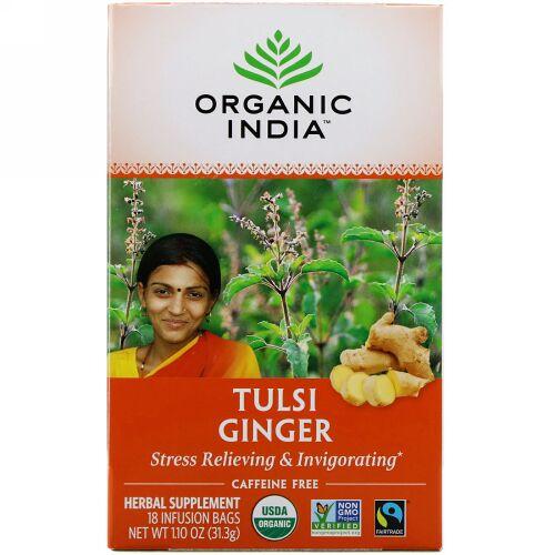 Organic India, Tulsi Tea, Ginger, Caffeine-Free, 18 Infusion Bags, 1.10 oz (31.3 g) (Discontinued Item)