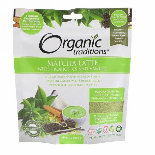 Organic Traditions, プロバイオティクスとバニラ入り抹茶ラテ、5.3 oz (150 g)