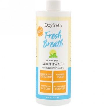 Oxyfresh, フレッシュな息、酸素と亜鉛配合レモンミントマウスウォッシュ、16液量オンス (473 ml) (Discontinued Item)
