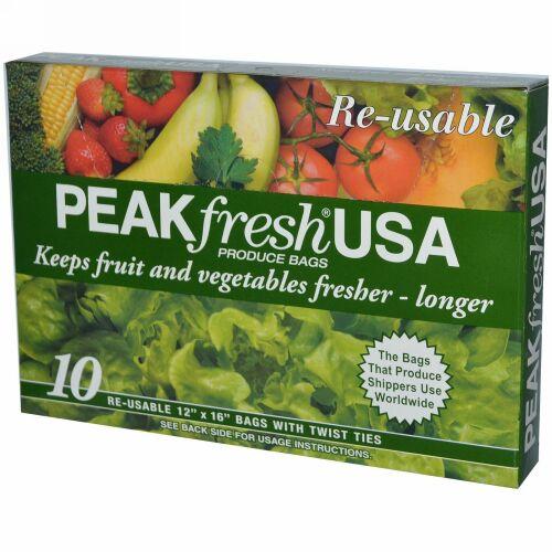 PEAKfresh USA, 野菜・果物用バッグ、再利用可, 10 - 12インチ x 16インチバッグ, 口止めひも付き
