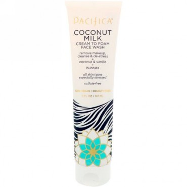 Pacifica, Coconut Milk Cream to Foam Face Wash, 5 fl oz (147 ml) (Discontinued Item)