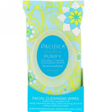 Pacifica, Purify Facial Cleansing Wipes, All Skin Types, 30 Pre-Moistened Natural Towelettes (Discontinued Item)