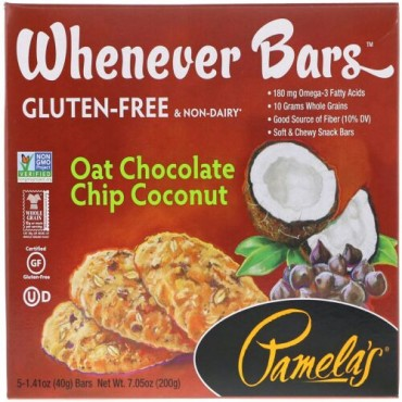 Pamela's Products, Whenever Bars、オートミールチョコレートチップココナッツ、5本入り、1本あたり1.41 oz (40 g) (Discontinued Item)