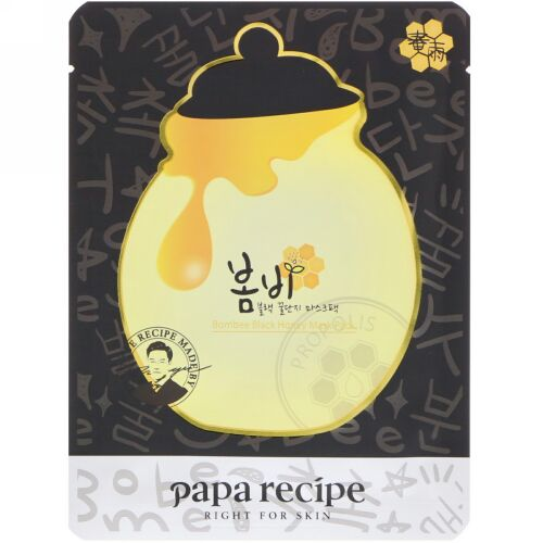 Papa Recipe, Bombee Black Honey Mask Pack, 10 Sheets, 25 g Each (Discontinued Item)