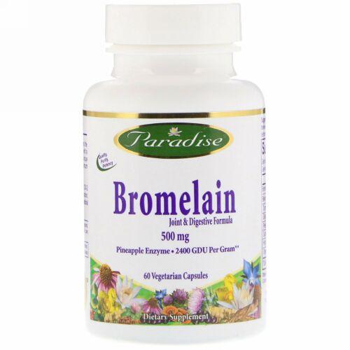 Paradise Herbs, ブロメライン, ジョイント& ダイジェスティブ・フォーミュラ, 500 mg, 60 ベジタブルカプセル