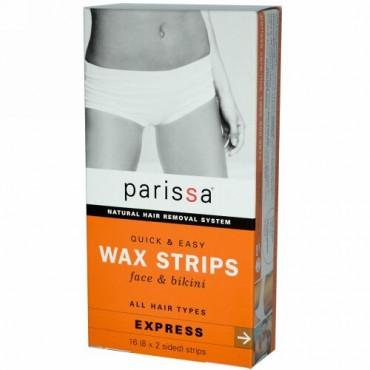 Parissa, ナチュラル除毛システム、 ワックスストリップ、 16 (8x2面) ストリップ