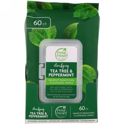 Petal Fresh, Clarifying Makeup Removing Cleansing Wipes, Tea Tree & Peppermint, 60 Wipes (Discontinued Item)