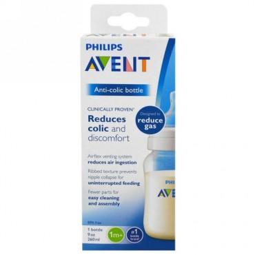 Philips Avent, 疝痛防止 ボトル、1か月から、1 ボトル、9 oz (260 ml) (Discontinued Item)