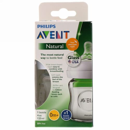 Philips Avent, Natural Glass Bottle, 0 + Months, 1 Bottle, 4 oz (120 ml) (Discontinued Item)