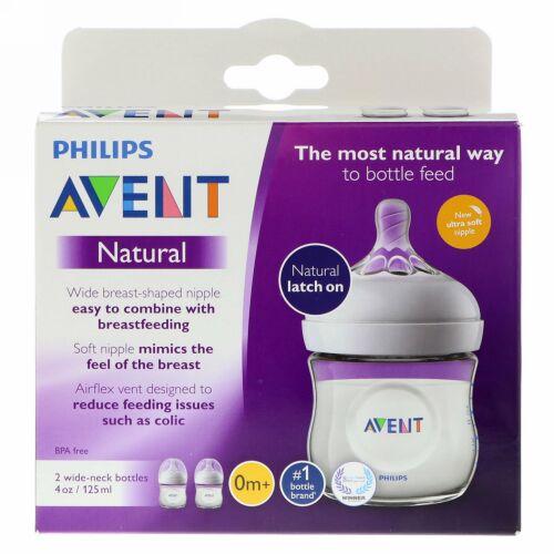 Philips Avent, ナチュラルラッチ・オン・ボトル、生後0ヶ月以上、2本、各4 oz (125 ml) (Discontinued Item)
