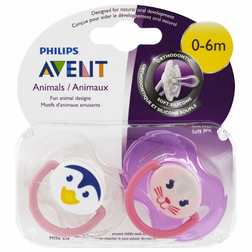 Philips Avent, Soft & Silicone Orthodontic Pacifier, 0-6 Months, 2 Pack (Discontinued Item)