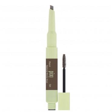 Pixi Beauty, 2-In-1 Natural Brow Duo, Waterproof Brown Pencil & Gel, Deep Brunette, Pencil 0.007 oz (0.2 g), Gel 0.084 fl oz (2.5 ml) (Discontinued Item)
