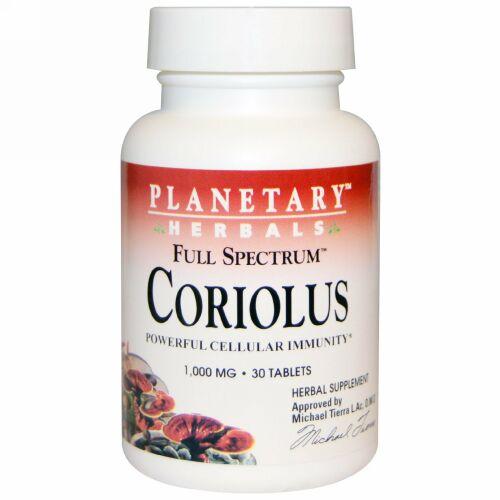 Planetary Herbals, フルスペクトラム™ カワラタケ, 1,000 mg, 30 錠