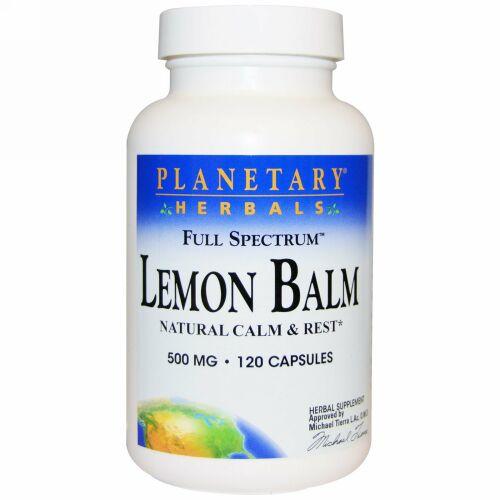 Planetary Herbals, レモン・バーム、フルスペクトラム、 500 mg、カプセル 120 錠