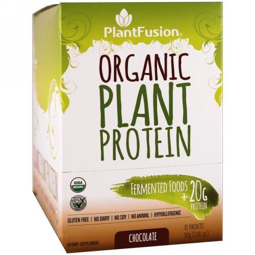 PlantFusion, オーガニック植物性タンパク質、チョコレート、12袋、各1.06オンス (30 g) (Discontinued Item)