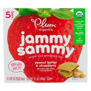 Plum Organics, オーガニック・ジャミーサミー、ピーナッツバター&ストロベリー、5本、各1.02 oz (29 g)