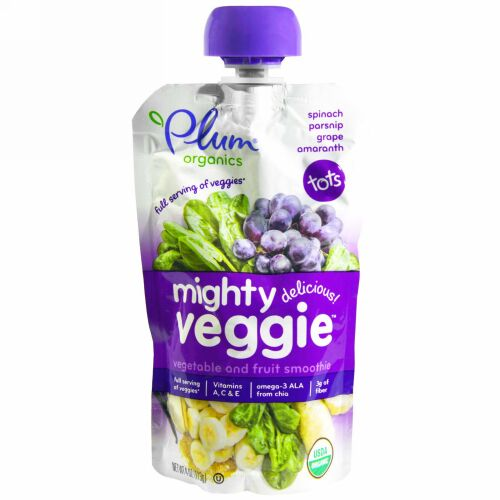 Plum Organics, Mighty Veggie, Veggie & Fruit Blend, 4 oz (113 g) (Discontinued Item)