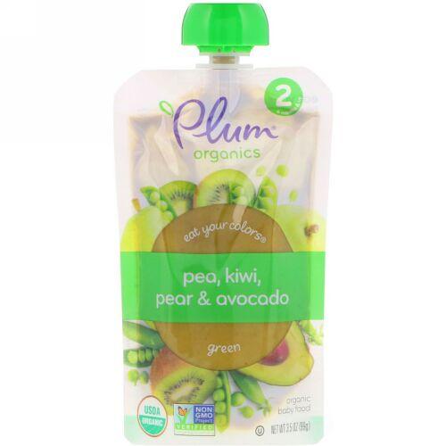 Plum Organics, Stage 2, Eat Your Colors, Green, Pea, Kiwi, Pear & Avocado, 3.5 oz (99 g) (Discontinued Item)