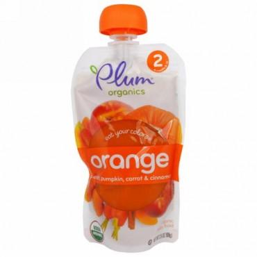 Plum Organics, イート・ユア・カラー、オレンジ:桃、かぼちゃ、ニンジン、シナモン、99g (Discontinued Item)