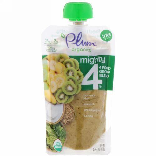 Plum Organics, Tots, Mighty 4, 4 Food Group Blend, Banana, Kiwi, Spinach, Greek Yogurt, Barley, 4 oz (113 g) (Discontinued Item)