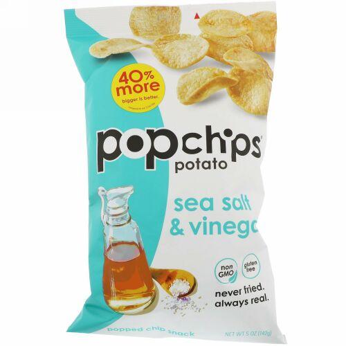 Popchips, ポテトチップス、シーソルト&ビネガー、5オンス (142 g)