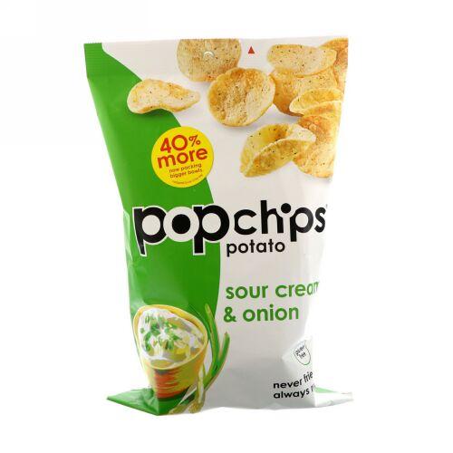 Popchips, ポテトチップス、サワークリーム&オニオン、5 oz (142 g)