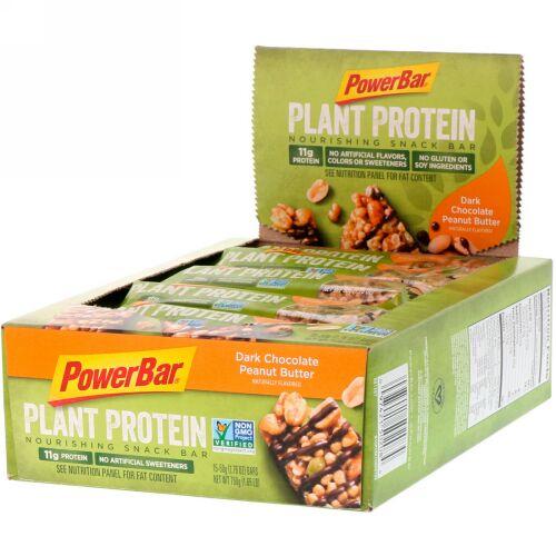 PowerBar, 植物性タンパク質、ダークチョコレート・ピーナッツバター、15個、各1.76 オンス (50 g) (Discontinued Item)