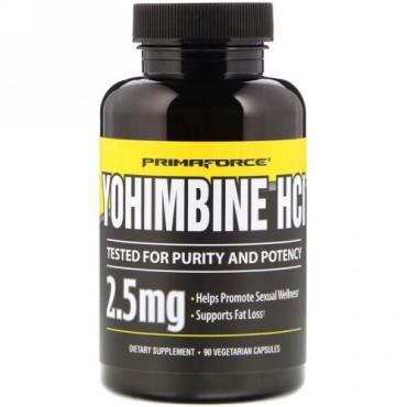 Primaforce, ヨヒンビン HCl、2.5 mg、ベジタリアンカプセル90個
