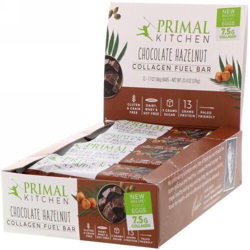 Primal Kitchen, Collagen Fuel Bar, Chocolate Hazelnut, 12 Bars, 1.7 oz (48 g) Each (Discontinued Item)