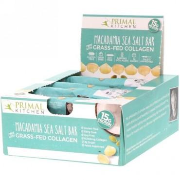 Primal Kitchen, Grass-Fed Collagen Bar, Macadamia Sea Salt, 12 Bars, 20.7 oz (588 g) (Discontinued Item)