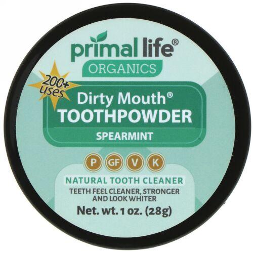 Primal Life Organics, ダーティマウス歯磨き粉、スペアミント、1 oz (28 g)