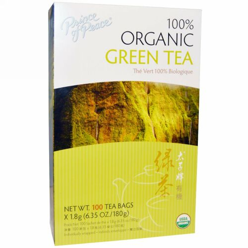 Prince of Peace, 100% オーガニック 緑茶, ティーバッグ100袋, 各1.8 g