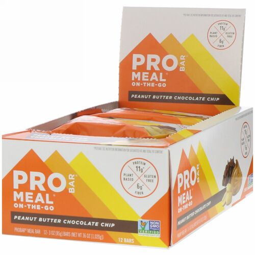 ProBar, Meal On-The-Go, Peanut Butter Chocolate Chip, 12 Bars, 3 oz (85 g) Each