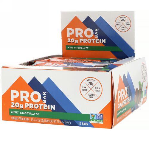 ProBar, Protein Bar, Mint Chocolate, 12 Bars, 2.47 oz (70 g) Each