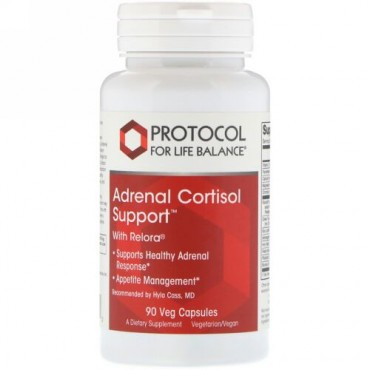 Protocol for Life Balance, 副腎コルチゾールサポート、ベジタリアンカプセル90錠