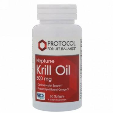Protocol for Life Balance, ネプチューンクリルオイル、500 mg、ソフトジェル 60錠