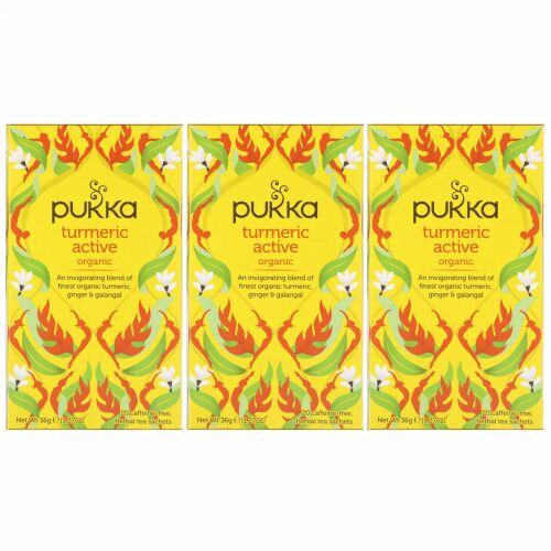 Pukka Herbs, オーガニックターメリックアクティブ、カフェインフリー、3パック、各20ハーブティーバッグ (Discontinued Item)