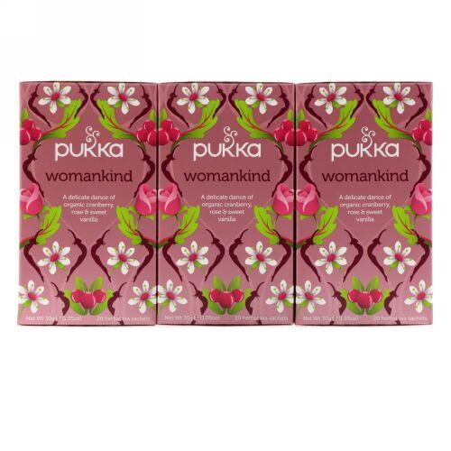 Pukka Herbs, ウーマンカインド、カフェインフリー、3パック、ハーブティーサシェ各20袋、 (Discontinued Item)