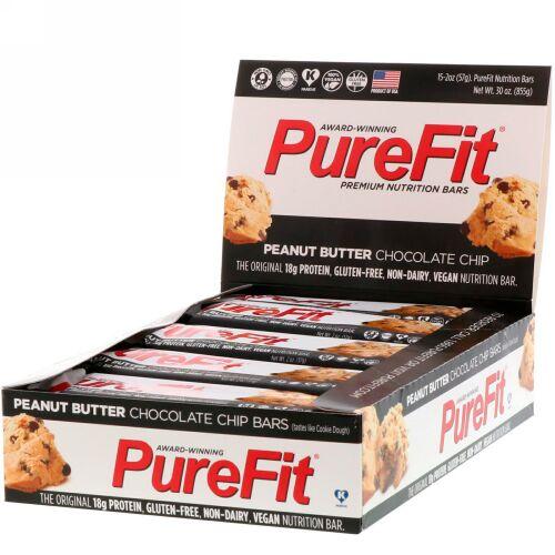 PureFit Bars, プレミアム栄養バー、ピーナッツバターチョコチップ、15本、2オンス(57 g) (Discontinued Item)