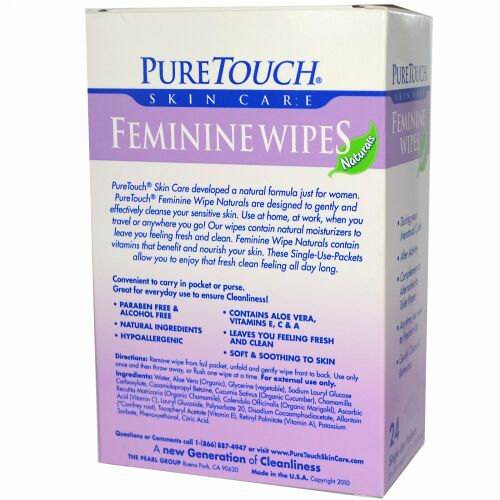 PureTouch Skin Care, フェミニンワイプ、24シングルユーズパケット (Discontinued Item)