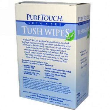 PureTouch Skin Care, インディビジュアル・フラッシャブル・モイストTush Wipes、使い捨てパック24枚 (Discontinued Item)