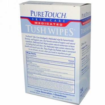 PureTouch Skin Care, 薬用タッシュワイプ、 24個の使い切りパック、 各5 in x 8 in (Discontinued Item)