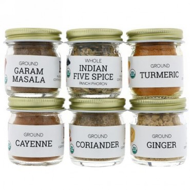 Pure Indian Foods, Organic Indian Spice Starter Kit, Experience Level: Beginner, Variety Pack, 6 Seasonings (Discontinued Item)