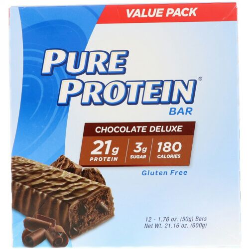 Pure Protein, Pure Protein Bar, Chocolate Deluxe, 12 Bars, 1.76 oz (50 g) Each