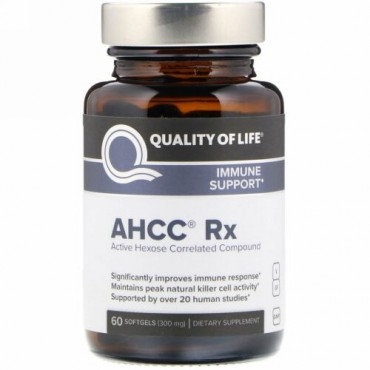 Quality of Life Labs, AHCC RX、300 mg、60ソフトジェル