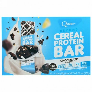 Quest Nutrition, ビヨンド・シリアル・プロテインバー, チョコレート味, 15本, 各1.34 オンス (38 g) (Discontinued Item)