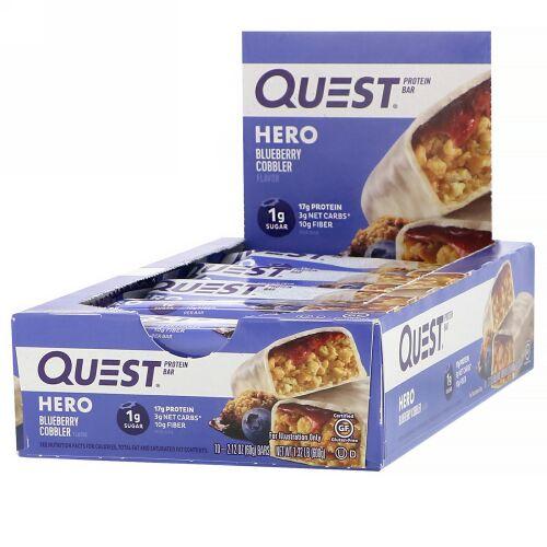 Quest Nutrition, Hero Protein Bar, Blueberry Cobbler-10 Bars, 2.12 oz(60g) Each