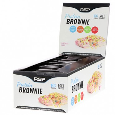 RSP Nutrition, Protein Brownie, Birthday Cake, 12 Brownies, 1.87 oz (53 g) Each (Discontinued Item)